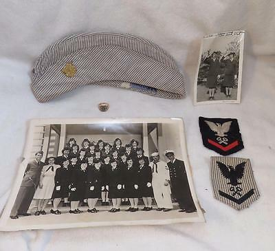 WW2 WWII  US Coast Guard SPARS Veteran Grouping Gold Ring Hat Patches Photos