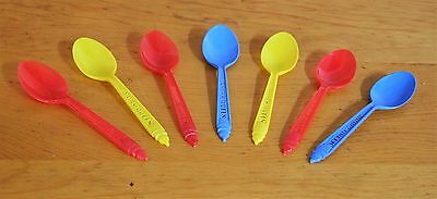 1960's lot 7  DAIRY QUEEN multi colored PLASTIC SPOON ice cream 4 inches VG