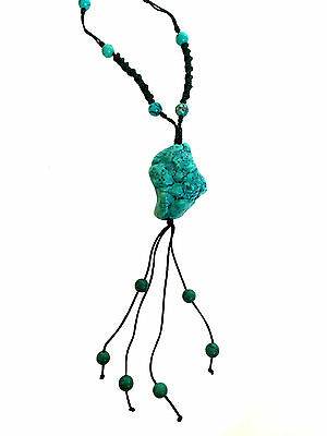 CHINESE TURQUOISE Nugget Beaded Long Extension Necklace Jade Green Cord