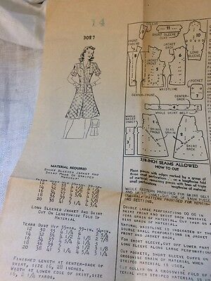 Vintage 1940's New Style Sewing Pattern 3027 Women's Dress