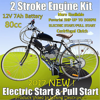 E-Start 80cc 2 Stroke Motor Engine Kit 4 Motorised Bicycle Push Bike Chopper AU