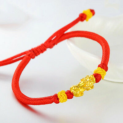 New 24K Yellow Gold Special Pixiu Wealth Bead Knitted Bracelet
