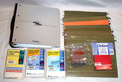Office Supplies Lot Aluminum 3 Ring Binder,Hanging Files,Labels,Tabs,Index,More
