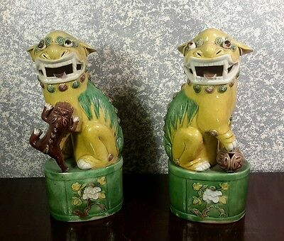 Beautiful Pair of Antique Chinese Famille Jaune Porcelain Foo Dogs Statues