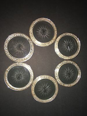 Vintage S. Kirk & Son Repousse Sterling Silver & Crystal Coasters~Early 1900's