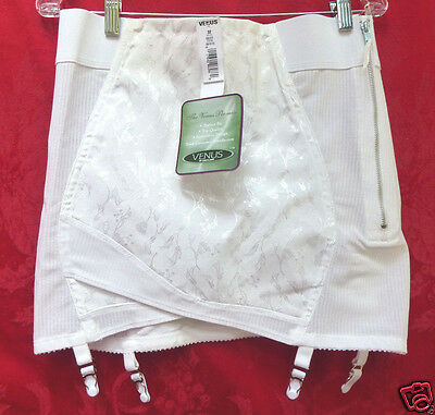 Vintage Satin Open Bottom Girdle Metal Garters Zipper Venus FITS Waist 34-36 NWT