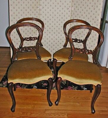 Victorian Balloon Back Mahogany Side/Dining/Parlor Chairs Set/4 Great Condition