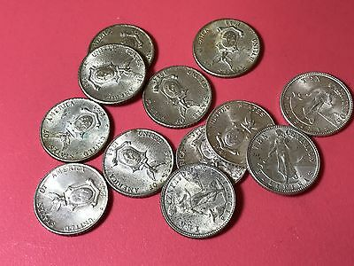 1944D US Philippines 10 Centavos silver 12 world coins lot AU to BU high value