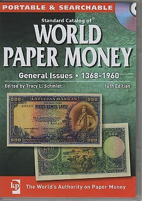 STANDARD CATALOG WORLD PAPER MONEY - 1368-1960 - GENERAL ISSUES - 16th ED - CD