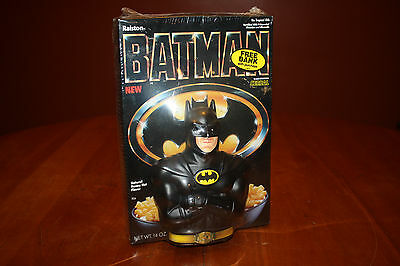 1989 Ralston Purina Batman Cereal with Plastic Bank Promo Sealed Not to Eat