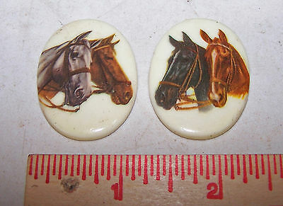 2 Vintage HORSE Decorative Medallions for Crafts Art Jewelry PAIR OF HORSES