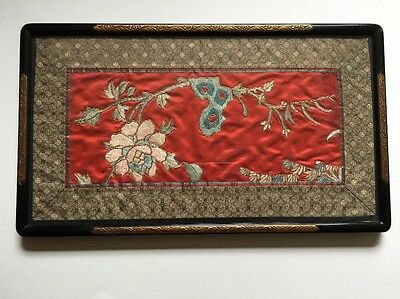 Antique Chinese Silk Embroidery Textile-125 Years Old- Bakelite(?) & Gold Frame