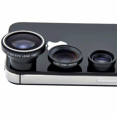 Universal 3in1 Fish Eye+Macro+Wide Angle Camera Lens Kit for iPhone 6s 6 Samsung