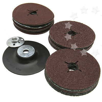 Kit of 3 different size Grit 115mm Plastic Backing Pad for Angle Grinder + disc