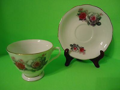 Vintage Bone China Cup and Saucer Rose Floral Pattern