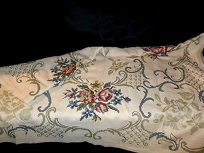 Antique Needlepoint Tablecloth TableCLOTH RED BLUE Rose Flower Pattern 52X62""