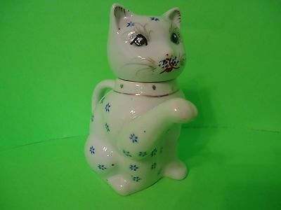 Vintage Porcelain Cat Tea Pot With Blue & Silver Tone Details