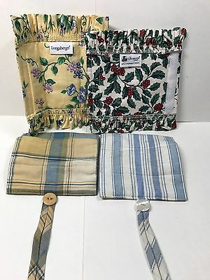Longaberger Lot Of Basket Handle Covers Holly Berries Flowers Plaid Stripes