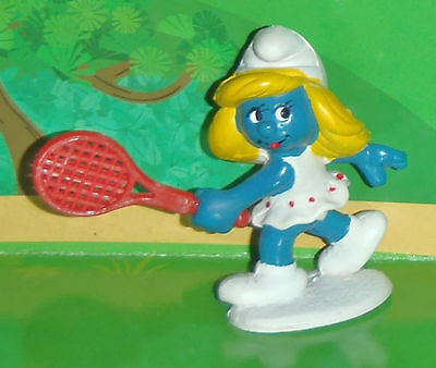 Vintage Tennis Smurfette With A Red Racket 1981 Smurf Lot
