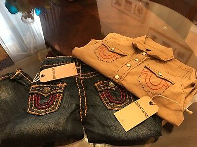 Nwt 100% Authentic True Religion Toddler Set Boy Jeans & Button Up Shirt 2T/4T