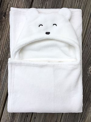 Carter's Baby Boys Polar Bear Hooded Blanket Wrap Throw Sherpa White EUC