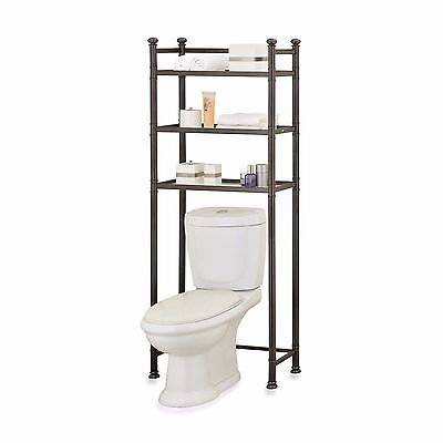 No Tool Over Toilet Glass Shelves Space Saver Oil Rubbed Bronze Bathroom Storage