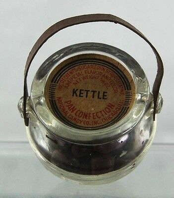 Vintage Pan Confection Kettle Glass Candy Container With Original Candy