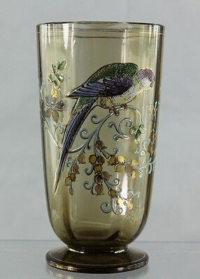 Antique Moser Type Enameled Glass With Parrot And Flowers