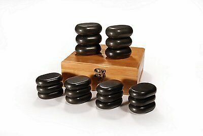 Master Massage 18 pcs Mini Hot Stone Set Basalt Rocks Body Therapy Lava