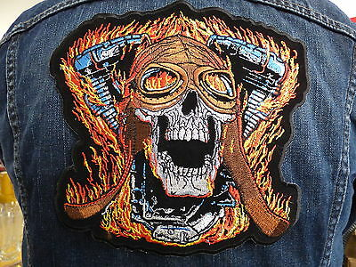 GRAND ECUSSON PATCH THERMOCOLLANT/ V TWIN CRANE FLAMME CASQUE CUIR biker trike