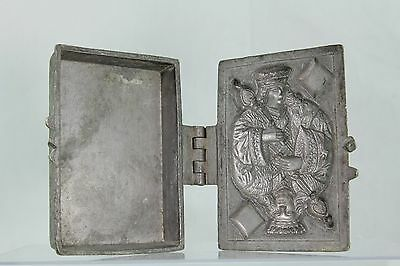 Rare Vintage Pewter Ice Cream Mold With Queen Of Diamonds