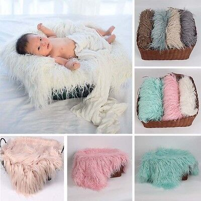 Mongolian Plush Fur Newborn Baby Kid Wrap Blanket Mat for Photography Photo Prop