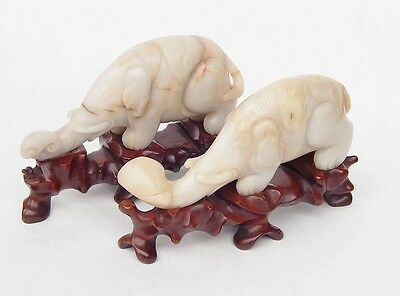 Pair Antique Chinese Qing Dynasty White Jade Elephant Carving Republic Period