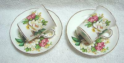 Pair Beautiful Hammersley Demi Tasse Coffee Can Cups & Saucers