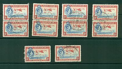 Bahamas #108 (8p George VI) VF used x 10 stamps CV $32.50 (lot 2)