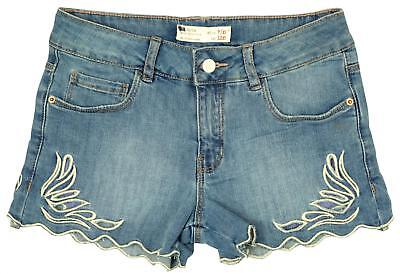 Girls Cut Out Floral Detail Denim Hotpants Shorts Hot Pants Fashion 3 - 14 Years
