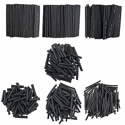381Pcs Black Assorted 2:1 Heat Shrink Tubing Tube Wrap Sleeve Wire Cable Kit