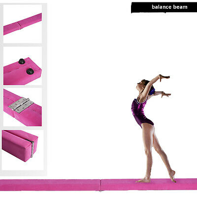 Pink Suede 7ft Gymnastics Folding Balance Beam 2.1M Home Gym Training Sports New
