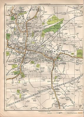 1935 Lancashire Large Scale Map - Leigh Westleigh Pennington Land Side Lately Co