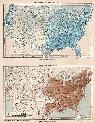 1889 Antique Map United States Rainfall Population