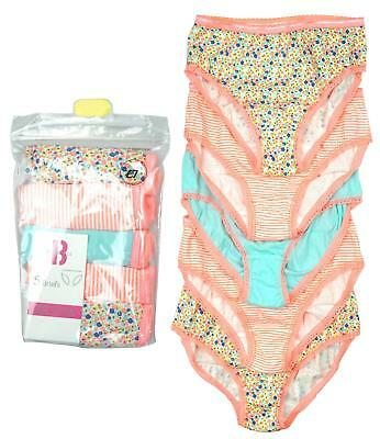Girls PACK OF 5 Neon Ditsy Floral Stripe Briefs Knickers Underwear 2 to 8 Years