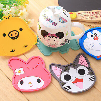 Lovely Cartoon Silicone Heat Insulation Coffee Tea Cup Mug Mat Pad Coaster WWS