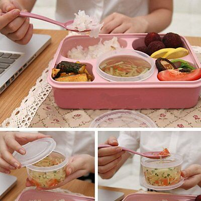 New Microwave Bento Lunch Box + Spoon Utensils Picnic Food Container Storage FR