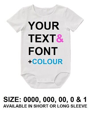 BABY Bodysuit YOUR CUSTOM Personalised TEXT Romper Funny Gift Announcement Aunty