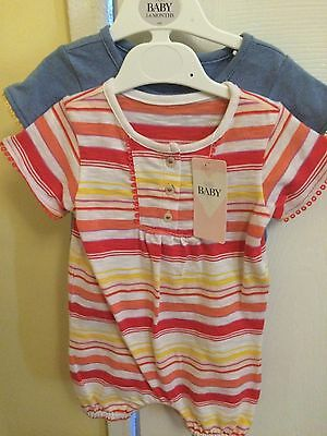 2 X Baby Girls Romper Suits 3-6 M&S BNWT RRP £16