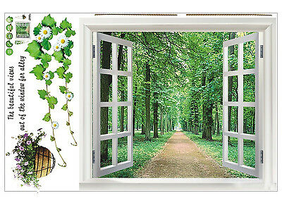 Window 3D Green View Flowers Plant Wall Stickers Art Mural Decal Wallpaper JI