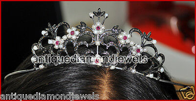 9.42cts ROSE CUT DIAMOND RUBY & PEARL WEDDING ANNIVERSARY HAIR JEWELRY FOR TIARA