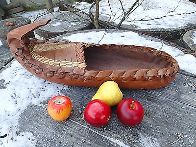 HUGE !!  21 inch !!  VINTAGE LEATHER HANDMADE ADVERTISING ? SHOE LAPLAND FINLAND