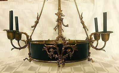 STATELY Antique Bronze Brass Tole French Directoire Basket Chandelier 8 Lamp