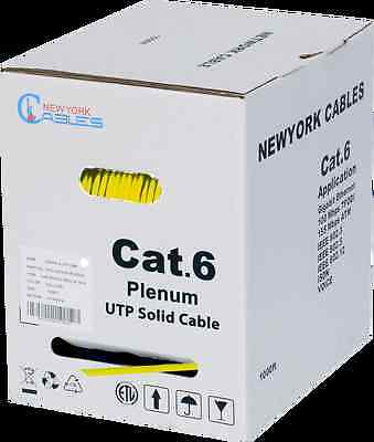 NewYorkCables Plenum 1000 ft Cable Cat 6 Solid 4-Pair Yellow